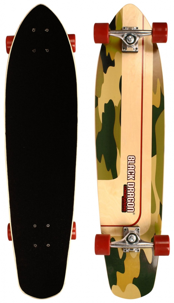 Black Dragon 36'' Kicktail Longboard Camo