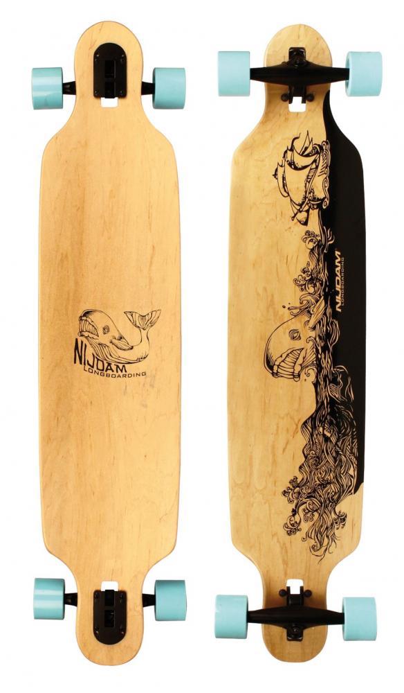 Nijdam Wooden Warrior ZWB Drop-through Longboard Whale