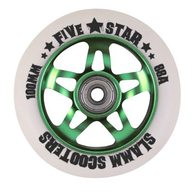5 star aluminium core stuntstep wheel green